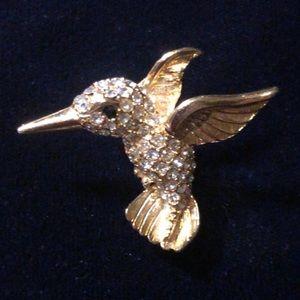 Vintage Boucher gold toned hummingbird brooch